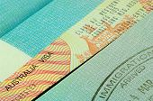 australian visa and passport page