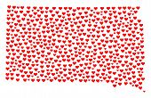Mosaic Map Of South Dakota State Formed With Red Love Hearts. Vector Lovely Geographic Abstraction O poster