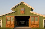 Elegant green farm barn office
