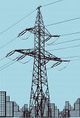 stock photo of power transmission lines  - vector power line illustration - JPG