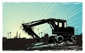 artistic vector illustration describing a bulldozer at sunrise and the city in the distance ,eroded