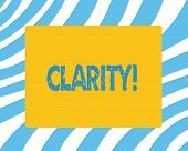 Text Sign Showing Clarity. Conceptual Photo Quality Of Being Easy To See Or Hear Sharpness Of Image  poster