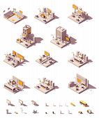 Vector Isometric Outdoor Advertising Icon Set Showing Different Advertising Media - Billboard And Ci poster