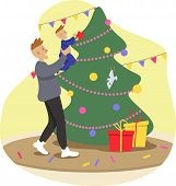 Kid Decorates Christmas Tree, Dad Holds Baby In His Arms, Father And Son, Relationship, Tenderness,  poster