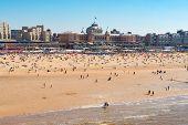 Scheveningen Beach With Kurhaus Landmark And North Sea, The Hague Netherlands poster