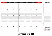 November 2019 Monthly Desk Pad Calendar Week Starts From Sunday, Size A3. November 2019 Calendar Pla poster