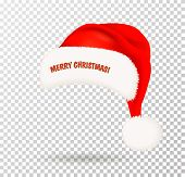 Single Red Santa Claus Hat With White Pompon On Transparent Background. Vector Illustration poster