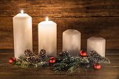 Two Burning Advent Candles In A Row With Natural Christmas Decoration On Wood, Second Advent poster