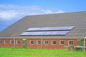 Solar Panels On The Roof Of A Large Fernrsky Barn For Cows, Horses, Pigs. Solar Panels On A Roof Of  poster