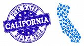 Map Of California Vector Mosaic And Pure Water Grunge Stamp. Map Of California Created With Blue Wat poster