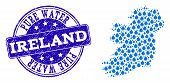 Map Of Ireland Island Vector Mosaic And Pure Water Grunge Stamp. Map Of Ireland Island Composed With poster