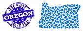 Map Of Oregon State Vector Mosaic And Pure Water Grunge Stamp. Map Of Oregon State Created With Blue poster