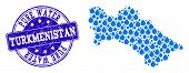 Map Of Turkmenistan Vector Mosaic And Pure Water Grunge Stamp. Map Of Turkmenistan Created With Blue poster