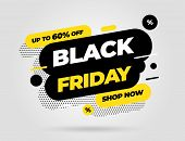 Black Friday Sale Inscription Design Template. Black Friday Banner. Vector Illustration. poster
