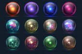 Magic Balls. Energy Mysterious Orbs, Magical Crystal Glass Prediction Paranormal Sphere. Vector Set  poster