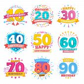 Anniversary Celebration Banners. Ribbons With Numbers Vector Set. Anniversary Celebration Emblem Num poster
