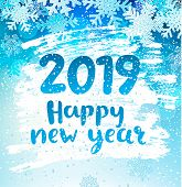 Happy 2019 New Year Holidays Geeting Card With Snowflakes On Iced And Frosted Window. Wishing Happy  poster