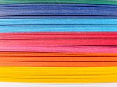 Colored Paper, Cross Section. Paper Strips In Rainbow Colors As A Colorful Backdrop. The Colored Pap poster
