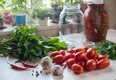 Tomatoes, Garlic And Spices On The Table. Preparation Of Salted Tomato. Home Preservation poster