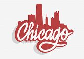 Chicago Illinois Usa Cityscape City Skyline Urban Label Sign  Logo  For T Shirt Or Sticker Vector Im poster