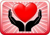 vector of heart in open hands