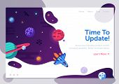 Product Update Illustration With Space Shuttle. Business Start Up Or Project Launching Web Banner Wi poster
