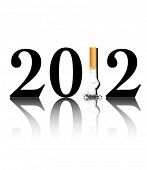 New Year's resolution Quit Smoking concept with the i in 2012 being replaced by a stubbed out cigare