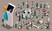 Isometric Set 1, Bank Icons With Bank Employees, Woman Bank Worker, Customer Service Manager. Financ poster