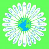 World Hello Day. The Concept Of The Campaign For Peace. Daisy Flower The Middle Is The Planet Earth. poster