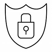 Shield Security Thin Line Icon. Lock And Shield Vector Illustration Isolated On White. Security Outl poster