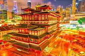 Buddha Tooth Relic Temple Of Singapore From Aerial View, Southeast Asia. Spectacular Buddhist Temple poster