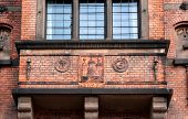 Balcony With Decoration On Facade Of Historical Copenhagen City Hall, Built In 1905 In Denmark. Arch poster
