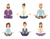 Businessman Yoga. Man And Woman Relaxing Meditation At Workspace Table Vector Concept Cartoon Illust poster