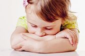 Portrait Of Little Cute Child Girl Expressing Sadness (gestures, Body Language, Facial Expressions,  poster