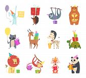 Birthday Animals. Holiday Happy Celebration Hare Hedgehog Bear Zebra Turtle Lion And Monkey Festive  poster