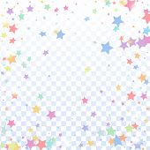 Multicolored Star Confetti Isolated On Transparent Background.  Flying Shiny Sparkle Particles. Holi poster