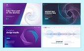 Set Of Web Page Design Templates With Abstract Background For Business, Marketing, Design Agency. Mo poster
