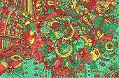Psychedelic Colorful Doodle Background. Hand Drawn Pattern With poster