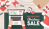 Santa Ordering Christmas Gifts Online And Connecting With His Laptop: Christmas Holiday Sale And Onl poster