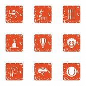 Physical Academic Icons Set. Grunge Set Of 9 Physical Academic Vector Icons For Web Isolated On Whit poster