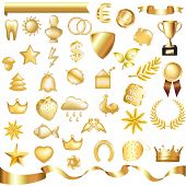 Collection Of Gold Elements, Isolated On White Background, Vector Illustration
