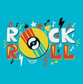 Vector Inspirational And Motivational Hand Drawn Concept Rock N Roll With Gramophone Record, Sheet M poster