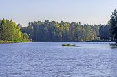 Autumn At The Lake. The Lake Is Situated Among Forests. The Edges Are Overgrown With Grass And Rushe poster
