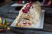 Meringue Roll Cake. Still Life Of Food. Anna Pavlova Dessert. Vegetarian Cake. Berry Curd. Low Fat D poster