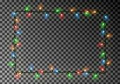 Christmas Lights Border Vector, Light String Frame Isolated On Dark Background With Copy Space. Tran poster