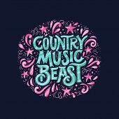 Vintage Style Round Poster With Lettering Country Music Beast. Element For Music Festival Or T-shirt poster