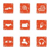 New Post Icons Set. Grunge Set Of 9 New Post Vector Icons For Web Isolated On White Background poster