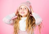Winter Fashion Concept. Kid Girl Wear Cute Knitted Fashionable Hat And Comfortable Cozy Clothes. Gir poster