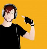 stock photo of emo-boy  - Vector illustration of young happy man with headphones - JPG