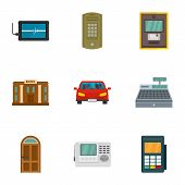 Secured Finance Icon Set. Flat Set Of 9 Secured Finance Vector Icons For Web Design poster